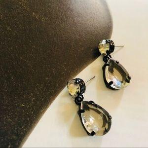 Black Metal & Crystal Vintage Teardrop Earrings